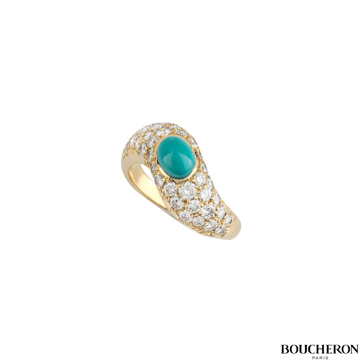 Boucheron 18k Yellow Gold Turquoise & Diamond Dress Ring